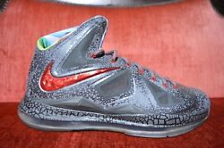 NIKE LEBRON X 10 CHROME Size 11 Reverse Area 72 SAMPLE PROMO PE Grey Gray Prism