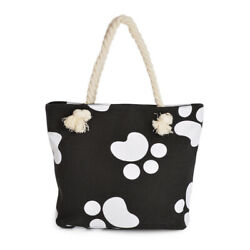 Premium Dog Cat Puppy Kitty Animal Paws Print Canvas Tote Shoulder Bag Handbag $9.99