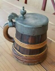 Austrian Antique Wood Beer Stein / Tankard With Lid Circa 1700and039s