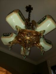 RARE Pristine 1930's Gill Glass Art Deco Slip Shade Chandelier w Custard Shades