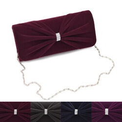 Elegant Rhinestone Bow Front Velvet Clutch Evening Bag Handbag Diff Colors $12.99