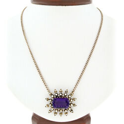 Antique Victorian 14k Gold 8.5ct Amethyst Seed Pearl Star Burst Pendant Necklace