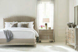 Luxurious Modern Design Taupe Silver 5 pieces Bedroom Set w King Size Bed IA8C