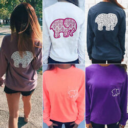 Womens Elephant Animal T-shirt Blouse Long Sleeve Pullover Casual Sports Tee Top
