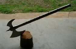 32.5 Medieval Tribbal Wood Handle Battle Axe W/hook Blade, Dragon / Zombie Axe