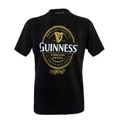 Mens T-shirt Guinness Black With Foreign Extra Bottle Label Print Cotton