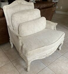 Drexel Heritage Down Filled French Louis XV Style Wide Seat Bergere Lounge Chair
