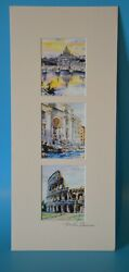 3 Original Watercolor Paintings Of Rome, By Igor Sava, Signed, Matted