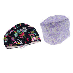 2 Pieces Cotton Cap Surgery Hat Bouffant Scrub Kitchen Hats