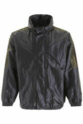 NEW Fendi metallic windbreaker with ff bands FAA660 A9Q3 Gold Silver AUTHENTIC N