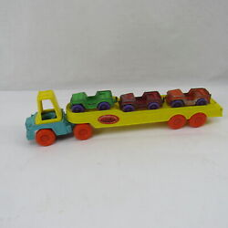 Tootsietoy Car Carrier Truck Toy 1968 Vintage Yellow Orange Blue