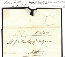 GB Cover 1839 LAST DAY Mileage Postage Rate *Eshton Hall* Yorks BOOTH £650+ 964d