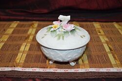 Lefton China Kw 3781 Hand Painted Floral Footed Bowl With Lid