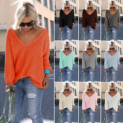 Womens V Neck Knitted Jumper Loose Sweater Long Sleeve Lady Tops Shirt Oversize
