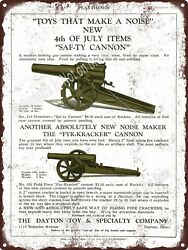 1928 Dayton Toy Co 4th Of July Cannon Caps Noise Maker Metal Sign 9x12 A284