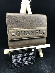 AUTHENTIC CHANEL WOMENS LEATHER COMPACT BIFOLD DESIGNER BROWN WALLET CC016