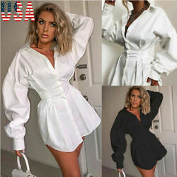 US STOCK Women Sexy Club Party Waist Design Summe Deep V Neckr Shirt Mini Dress