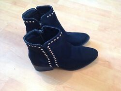 Lovely Ladies Black Ankle Boots With Studs Size 3 New Shop Clearance