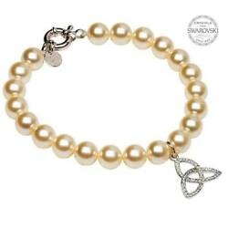 Pearl Bracelet Trinity Adorned with Swarovski Crystals 7.75