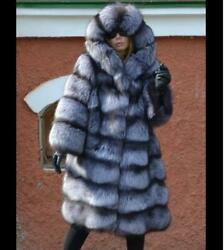 Women Winter Real Natural Silver Fox Fur Coat Hooded Thick Jacket Warm Outerwear