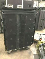 (16) JBL VTX V20 Line array speakers with covers and transport dollies