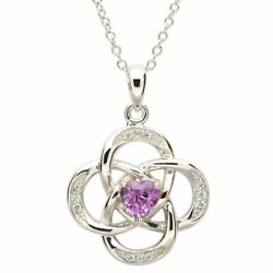 Sterling Silver Necklace June Birthstone Alexandrite Cubic Zirconia 18 x 20mm