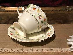 Eb And Co Foley China Hand Painted Leaf And Floral Footed Tea Cup And Saucer