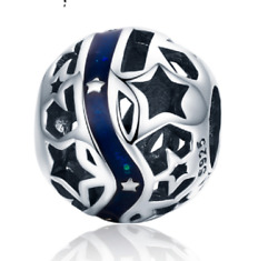Blue Galaxy Star Solid Sterling Silver S925 and Enamel Charm Bead in Gift Bag
