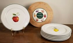 Crate And Barrell 8 Fruit Plates Set Of 6 W/original Wooden Box Made In Ireland