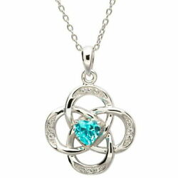 Sterling Silver Necklace March Birthstone Aquamarine Cubic Zirconia 18x20mm