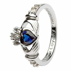 Women Claddagh September Birthstone Ring Sapphire Cubic Zirconia Irish Charm