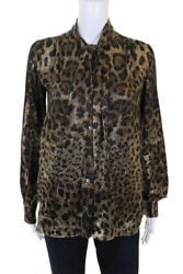 Dolce and Gabbana Womens Tie Neck Metallic Leopard Blouse Top Italian Size 38