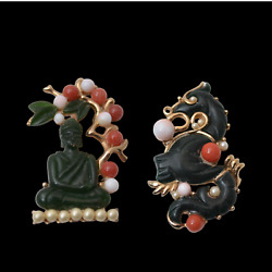 Dragon Buddha Pins Brooches Coral Jade Pearls Asian Jewelry 1960s Vintage Gift