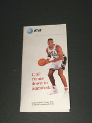 Atandt Team Usa Barcelona Olympic Games Metal Pin Scottie Pippen 1992 Pamphlet New