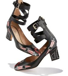 Valentino Love Blade Black Leather Embroidered Beaded Ankle Wrap Heels Shoes