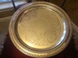 William Rogers And Son Vintage Silver Plated Serving Tray Spring Flower Pattern