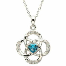 Sterling Silver Necklace December Birthstone Blue Topaz Cubic Zirconia 18x20mm