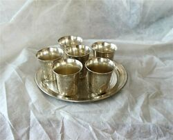 Russian 84 Silver Tray Empire 6 Vodka Cups Beaker Moscow 1857-73