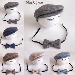 USA Infant Baby Boy Newborn Berets Hat + Bow tie Costume Photo Photography Prop