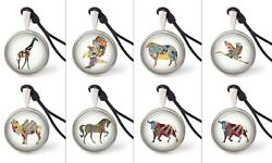 Colorful Animals Necklace Pendants Pewter Silver Jewelry Jewelry Jnp