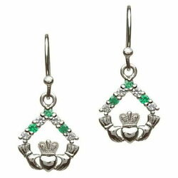 Sterling Silver Claddagh Earrings Green & Silver Cubic Zirconia 12.5 x 16mm