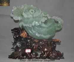 Chinese Xiuyu Natural Green Jade Hand-carved Wealth Baicai Cabbage Lucky Statue