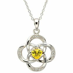 Sterling Silver Necklace November Birthstone Yellow Topaz Cubic Zirconia18x20mm
