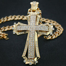 Hip Hop 14k Gold PT Large Sharp Hollow Cross Pendant 20quot; Cuban Chain CZ $29.99