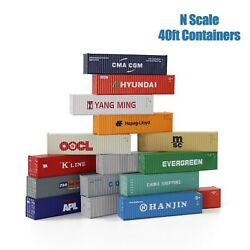3pcs N Scale 40ft 1160 Shipping Container Freight Cars Cargo Box
