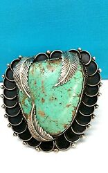 Native American Navajo Mark O.l.sterling Silver And Turquoise Cuff Bracelet 263 Gr
