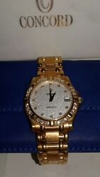 Concord Saratoga SL 117g 18k Gold Mens Watch w/Diamond Dial & Bezel 51/50 C2 230