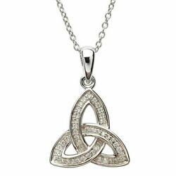 Sterling Silver Trinity Knot Pendant Cubic Zirconia Celtic Necklace 18.5x21mm
