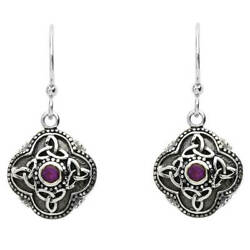 Sterling Silver Women Drop Earrings Amethyst Fish Hook 15 x 20mm Celtic Design