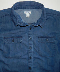 Old Navy ~ Women's ~ 100% Cotton ~ Denim Look ~ LS ~Pullover Shirt Blouse~Large
